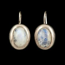 Antique Vintage Art Deco Sterling Silver Womens Iridescent Moonstone Earrings!
