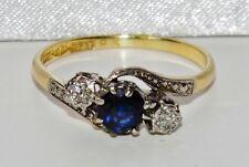 Kunst Deko 18 karat Gelbgold & Platin Saphir & Diamant Trilogie Ring - Größe P