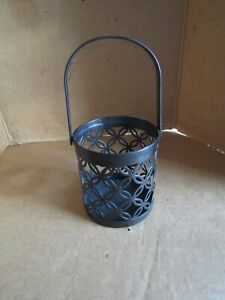 PARTYLITE BROWN METAL CANDLE HOLDER w/HANDLE