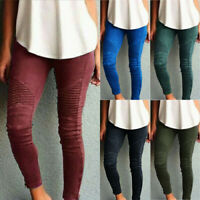 Womens Skinny Leggings Plain Stretch Pants Jegging Combat Cargo Ripped Trousers