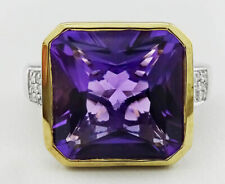 GENUINE 6.34 Cts AMETHYST & DIAMONDS RING 14K GOLD/ SILVER * NWT * Size 7