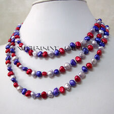 """48"""" 5-6mm Multi Color Baroque Freshwater Pearl Necklace Fashion Jewelry U"""