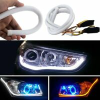 2PCS 60cm LED Light Strips Tube Switchback White/Amber Flexible DRL Turn Signal