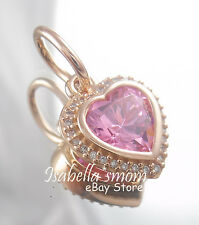 SPARKLING LOVE Genuine PANDORA Rose GOLD/Cz PINK HEART Pendant/Dangle/Charm NEW