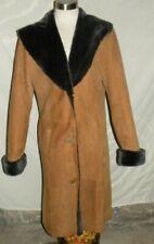 Jean Guise 100% Lambskin Shearling Leather Women's Long Brown Over Coat sz 12 L