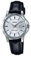Casio LTP-V004L-7A Women's Silver Tone Leather Band Silver Dial Date Dress Watch