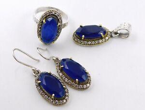 14.9Gm 925 Sterling Silver Blue Sapphire Cut Stone Ring Earring Pendant Set M167