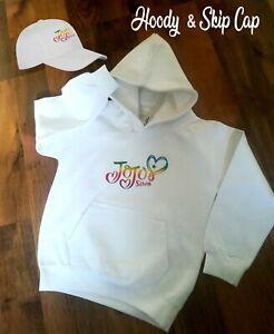 JoJo Siwa Inspired Merch Kids Hoodie Hoody &/or Skip cap New Youtube FREE NAME