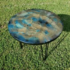 "Handmade epxoy resin poured accent table, 24"" round x 23"" tall, 3 hairpin legs"