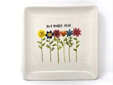 1 new Rae Dunn BEST MOTHER EVER square plate pottery decor summer spring gift