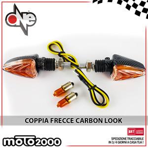 COPPIA FRECCE LAMPEGGIATORI CARBON LOOK CARBONIO GAMBO CORTO UNIVERSALI PER MOTO