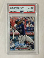 RONALD ACUNA JR 2018 Topps Holiday SNOWFLAKE SP RC! PSA NM-MT 8! #HMW50! INVEST!