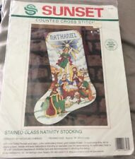 Sunset Stained Glass Nativity Christmas Angel Cross Stitch Kit 18343