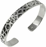 Solid 925 Sterling Silver Cuff Bangle Bracelet 10mm for Men and Women