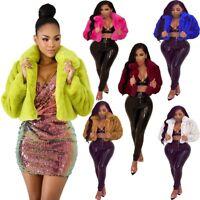 Women Fall&Winter Long Sleeve Solid Faux Fur Cardigan Short Fluffy Jacket Coat