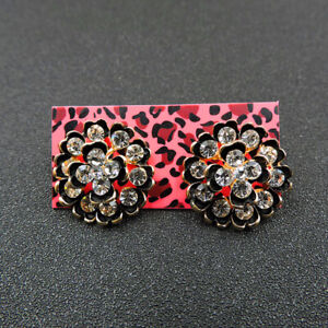 Betsey Johnson Alloy Crystal Rhinestone Black Flower Stud Earring Fashion Jewel