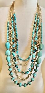 Chico's Multi GOLD TONE CHAIN TURQUOISE STONE GLASS LUCITE BEADS Necklace