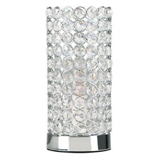 Modern Polished Chrome Clear K9 Genuine Crystal Cylinder Touch Table Lamp by M