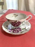 Antique Japan Cup& Saucer with flowers Hand pained marked rare