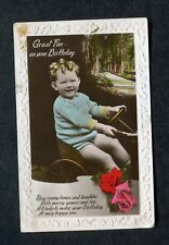 """Posted c1930s Birthday Card: Small Boy in a """"Go-Cart"""": Great Fun: Very Happy One"""