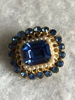 Vintage Cushion Brooch Blue Glass Faux Pearls 1980s Retro Jewellery Jewelry Old