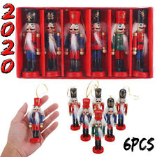 6x Wooden Nutcracker Puppet Zakka Soldier Ornaments Christmas Tree Hanging Decor