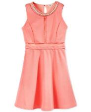 Monteau Girls' Embellished Illusion Dress Light Coral Size M 10 /12
