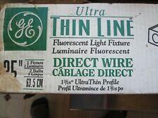 "2 GE Ultra Thin LIne Fluorescent Light Fixture 1 3/16"" Ultra Thin 2 Bulb 25 inch"
