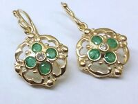 E024- Genuine SOLID 9ct 9K Gold NATURAL Emerald & Diamond DROP Earrings Blossom