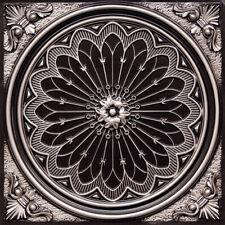 Faux Ceiling Tiles TIN LOOK PVC GLUE UP DROP IN 2'x2' 24x24 D238 Antique Silver