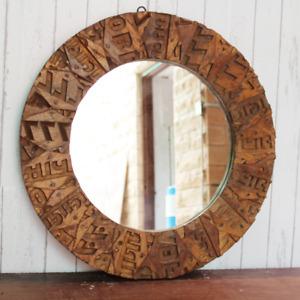 Wooden Round Mirror frame Unique designed used Alphabetic Letter Antique frame