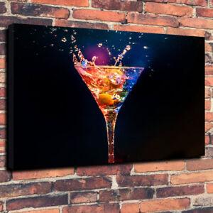 "Martini Glass Printed Box Canvas Picture A1.30""x20"" 30mm Deep Wall Art Bar Room"