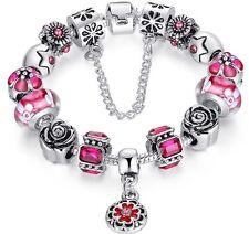 Pulsera con charms chapada en plata, abalorios en cristal de murano, azul, rosa