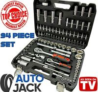 "Autojack 94 Piece Metric Socket & Bit Set 1/4 1/2"" Ratchet PROFESSIONAL QUALITY"