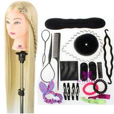 "Salon Practice Training Head 30"" Mannequin Doll + Hairdressing Braid Set Clamp"