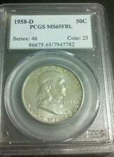 1958 D Franklin Half PCGS MS 65 FBL GEM BU Full Bell lines exceptional toning!