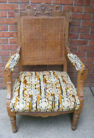 Antique Victorian Eastlake Chair Cane Upholstered