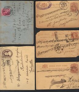 INDIA 1900's COLLECTION OF 9 COVERS & POSTAL CARDS TO ENGLAND DOMESTIC MAIL