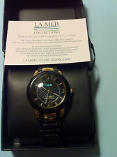LA MER COLLECTIONS BLACK GOLD INDO LUCITE WATCH