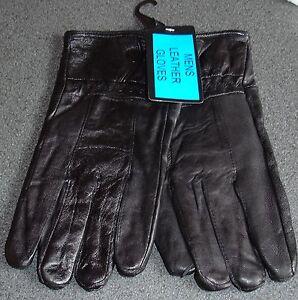 Mens Black Leather Gloves One Size 100% Sheepskin