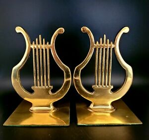 2 Howell Evans Musical Instrument Harp Music Note Sign Solid Brass Bookends