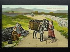 More details for ireland irish black turf / peat carrying turf on donkey - old postcard valentine