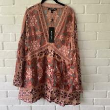 For Love & Lemons BNWT Pink Floral Mini Silk Dress Size Small S rrp £260
