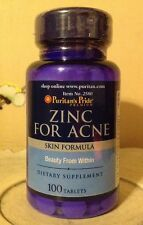 Puritan's Pride Zinc For Acne 100 Tablets ~ Vitamins C, B-6, A & E For Your Skin