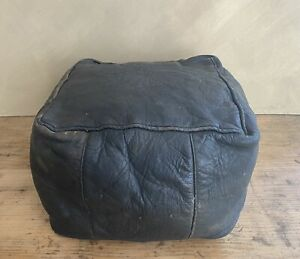 ANTIQUE 1960's 70's VINTAGE LEATHER MORROCAN POUFFE FOOTSTOOL
