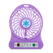 Portable Rechargeable LED Light Fan Air Cooler Mini Desk USB 18650 Battery Fan 9