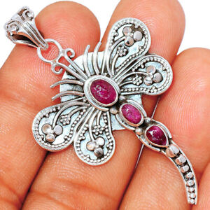 Dragonfly - Ruby, India 925 Sterling Silver Pendant Jewelry BP81438