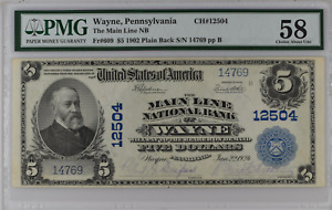 PA 609 1902 PlainBack $5 Blue Speelman White The Main Line NB Wayne Pennsylvania