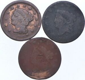 Lot of 3 Worn Dates Braided Hair Large Cent - Collection *682