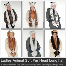 Adult Winter Warm 90cm Lion Faux Fur Trapper Hat With Scarf Gloves Snood